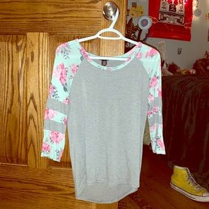 Blue and grey flowered long sleeve